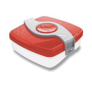 Červený svačinový box s otočnou fixací