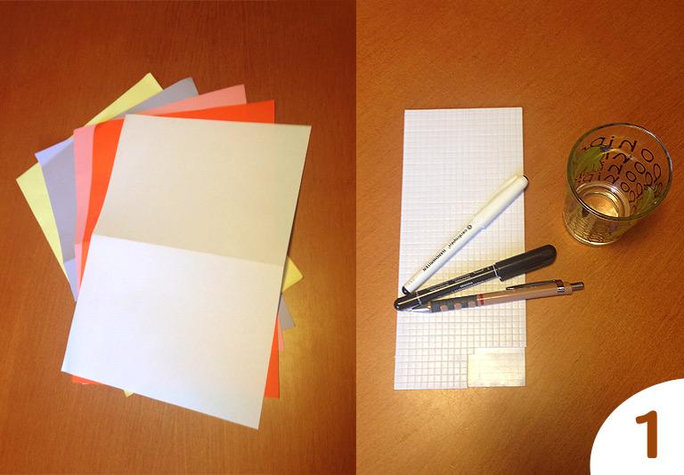 Potřeby na výrobu - papír, sklenička, psací potřeby a samolepky