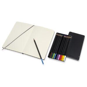 Ukázka skicáře a akvarelových pastelek Moleskine
