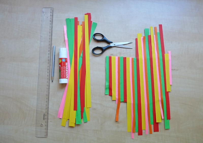 nastříhané barevné proužky