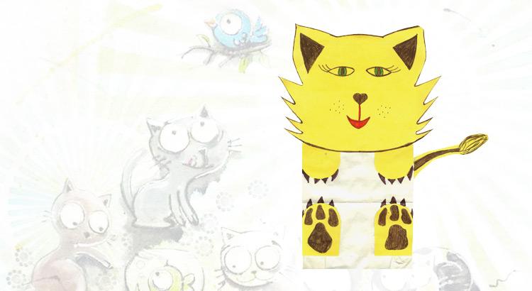 kočka z papírového sáčku