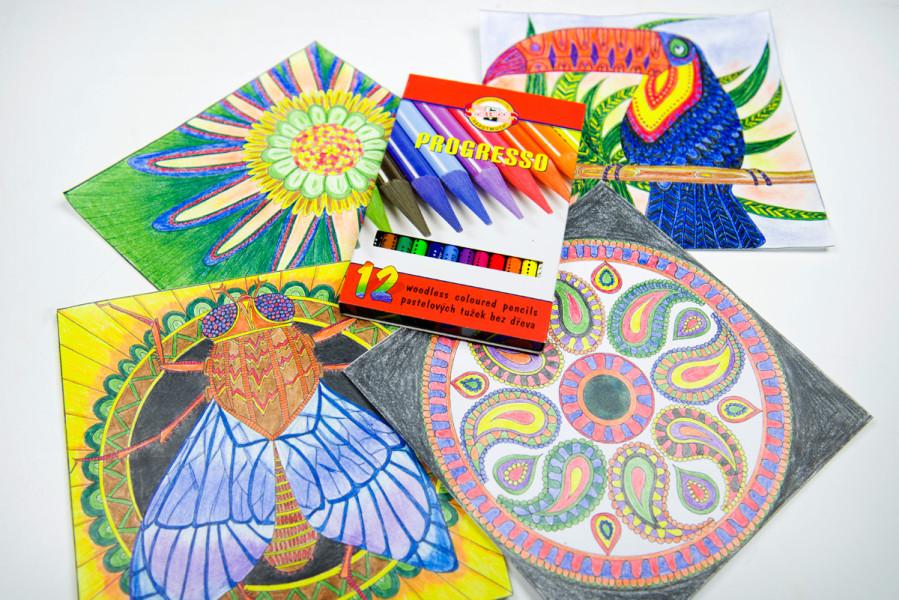 antistresové omalovánky malované barvami progresso