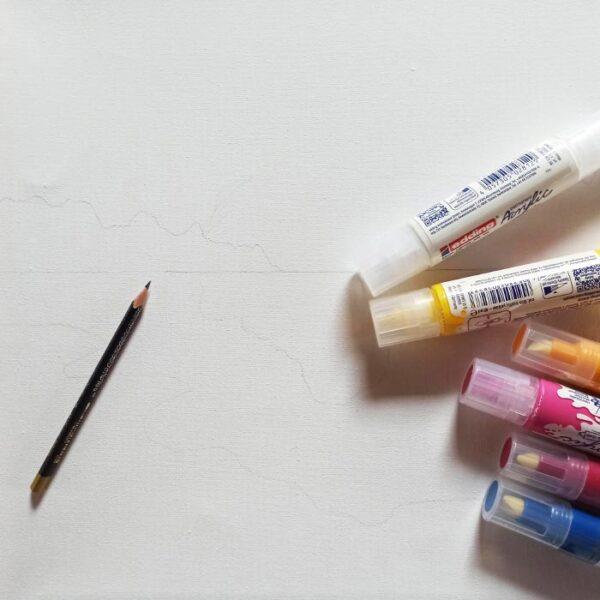 náčrt motivu tužkou na plátno