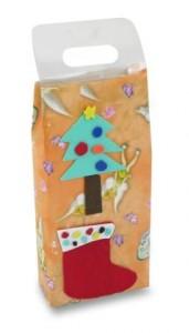 dárková taštička se stromečkem a vánoční punčochou