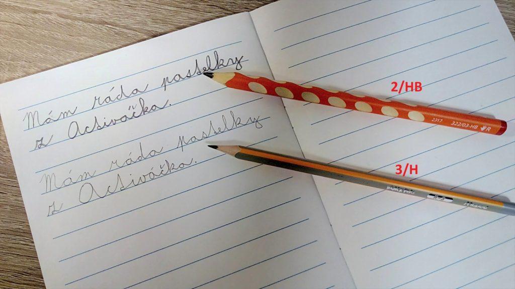Rozdíl mezi tvrdostí tužky 2/HB a 3/H