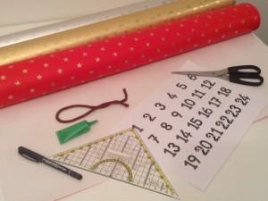 Potřeby na vyrábění adventního kalendáře