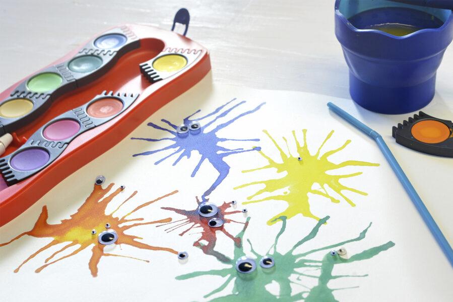 Obrázek příšerek za použití vodových barev Faber-Castell Connector