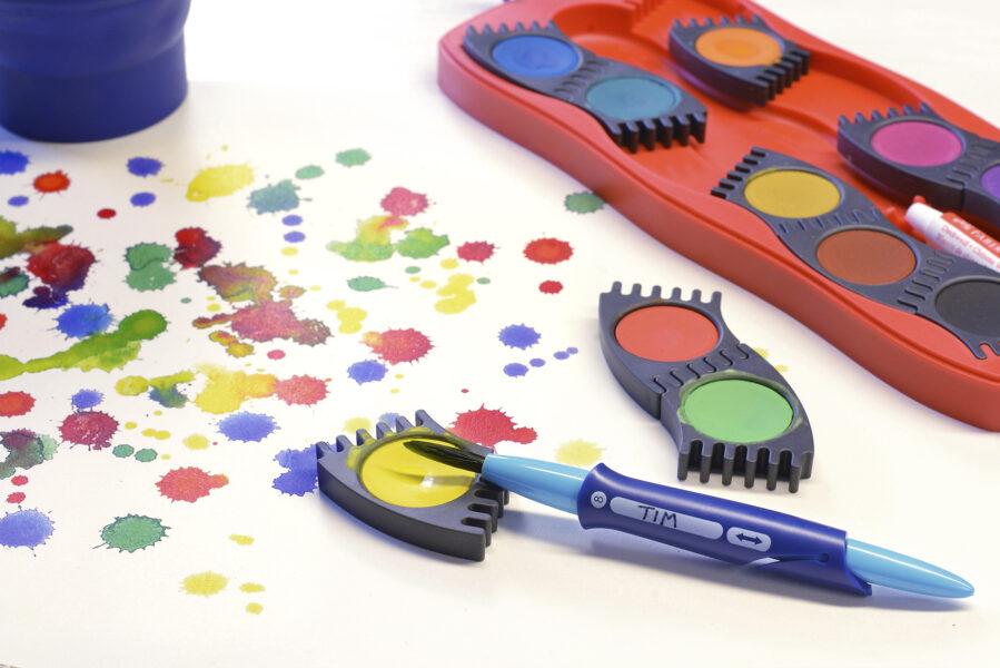 Ukázka štětce a vodových barev Faber-Castell Connector