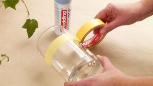 příprava vázy na přestříkání akrylovým sprejem Edding