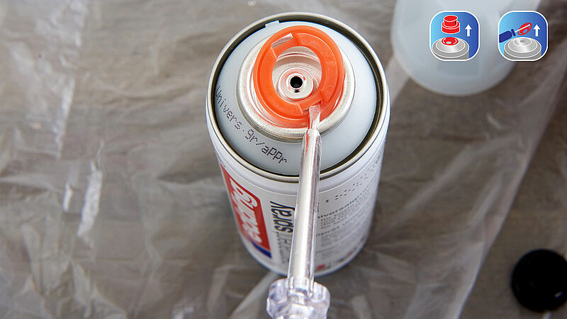 odstranění bezpečnostníh kroužku u akrylových sprejů Edding