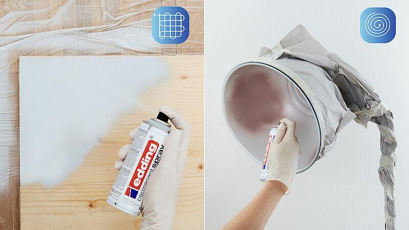 směr postřiku akrylovým sprejem Edding