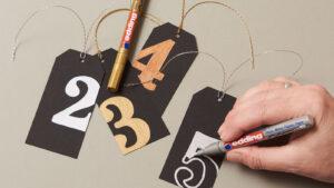 Postup vybarvování číslic na adventní kalendář z krabiček