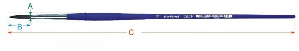 Kulatý štětec da Vinci s kvótami rozměrů