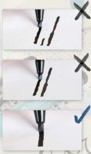 Špatné příklady psaní s popisovačem Calligraphy
