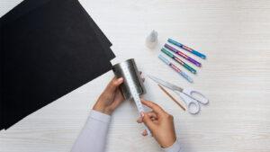 Naměření papíru na plechovce pro adventní kalendář
