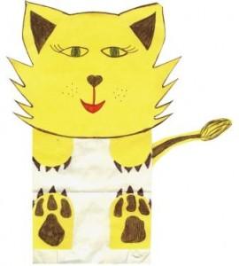 Kočka z papírového sáčku – návod na výrábění