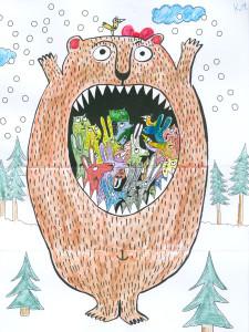 rozložená omalovánka medvěda