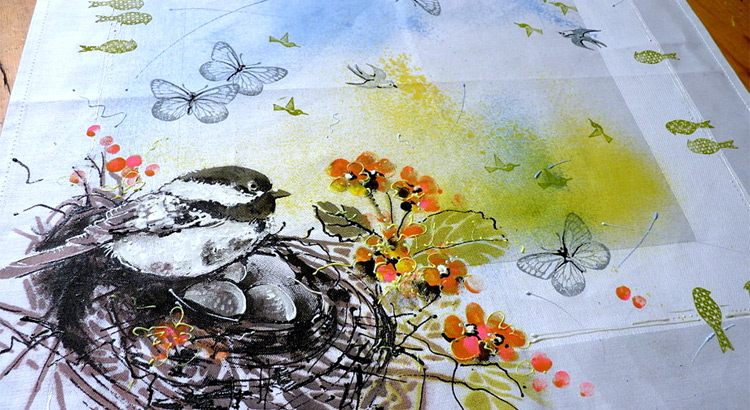 Jarní prostírání s ptáčkem