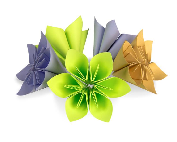 Skládané květiny z papíru - DIY