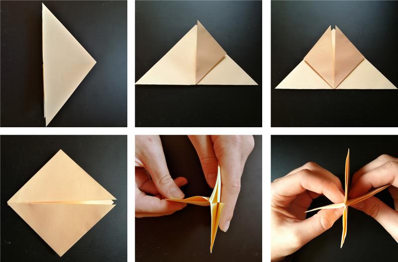 Ukázka přehybů papíru na vytvořen tulipánu
