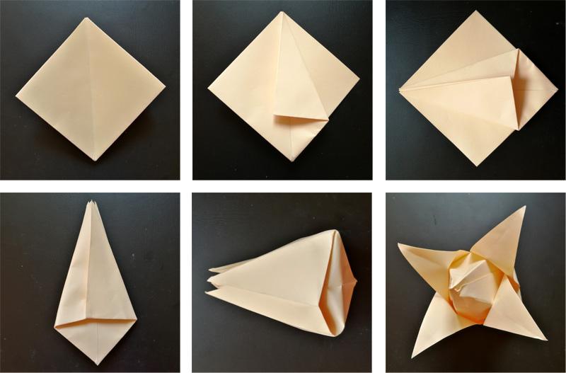 Závěrečná fáze práce s papírem u květu tulipánu