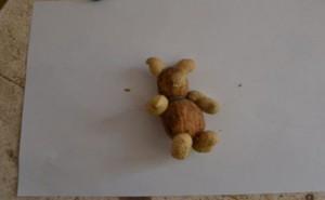 končetiny a ouška z burákových skořápek přidělaná k tělíčku medvídka