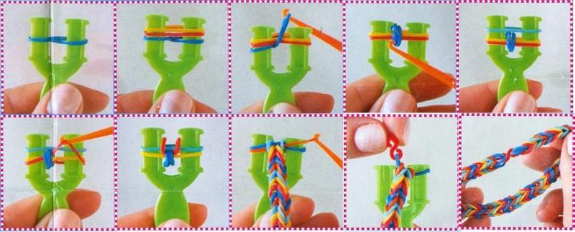 Postup pletení náramku z gumiček