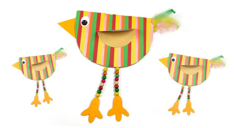 pestrobarevný ptáček z papíru diy