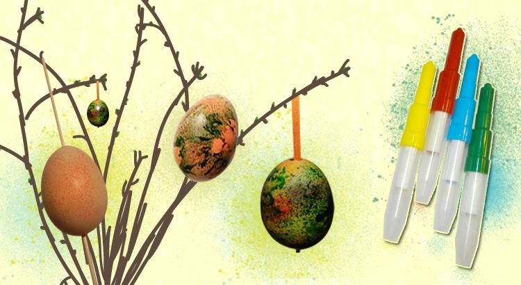 vajíčka zdobená foukacími fixami