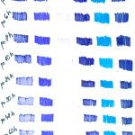 test - vysychavost - modré ostíny testovaných fix