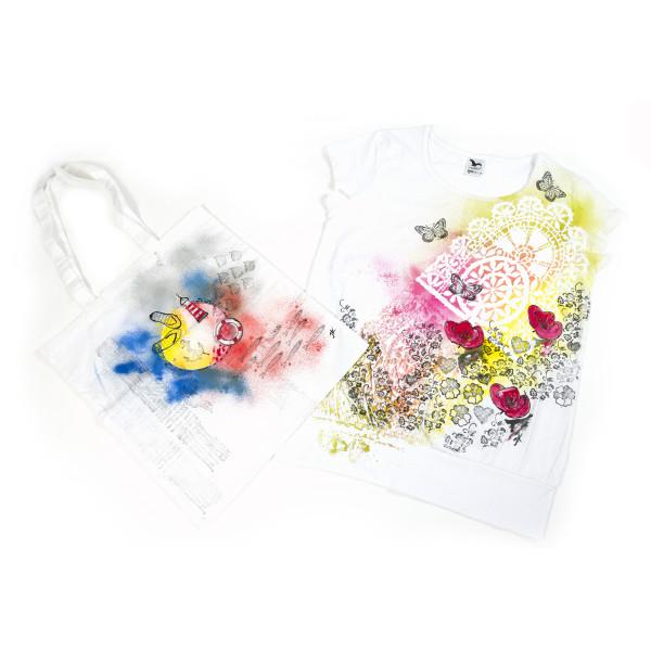 můj první a druhý textilní pokus taška a tričko