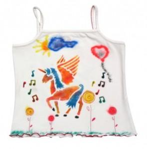 Tričko na ramínka  vyrobené foukacími fixy